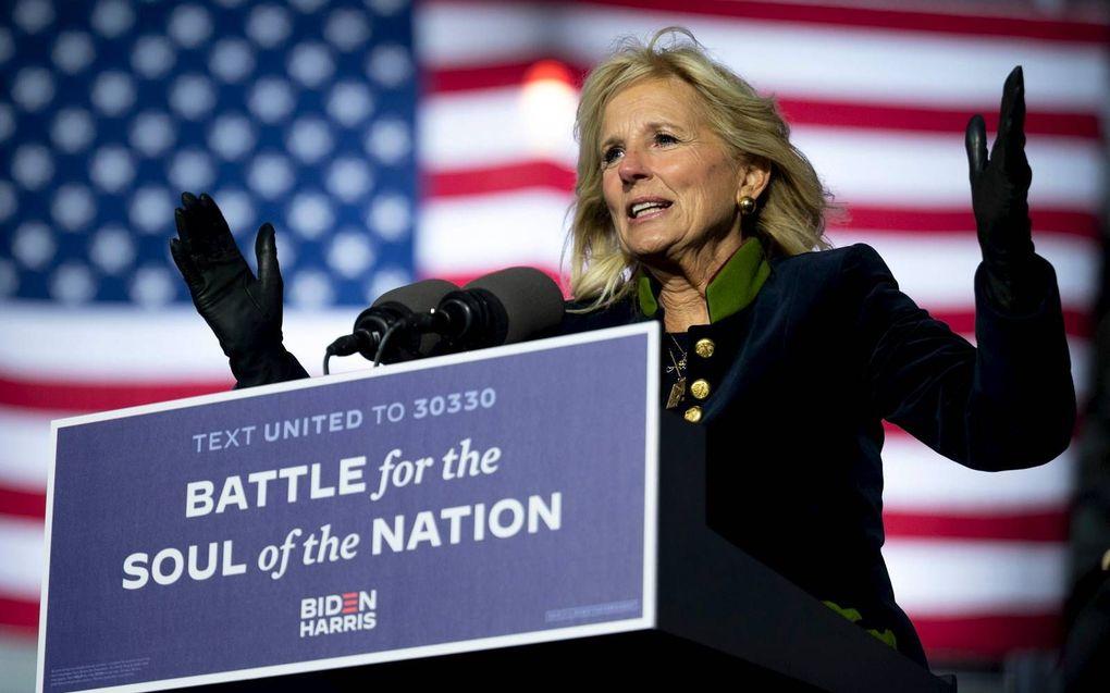 Jill Biden houdt een toespraak tijdens een Democratische campagnebijeenkomst in Pittsburg.beeld AFP, Jim Watson