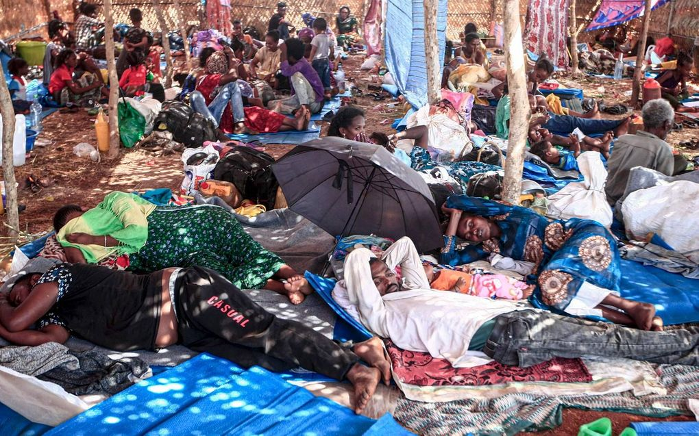 Ethiopische vluchtelingen in kwam Um Raquba in Sudan. Het kamp ligt op 80 kilometer van de grens met Ethiopië.beeld AFP, Ebrahim Hamid