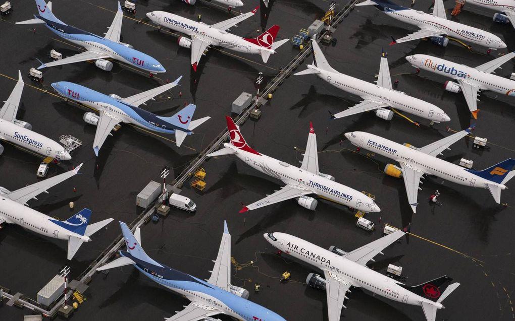 Bij de Boeingfabriek in Renton, Washington, staan tientallen Boeing 737 MAX-toestellen geparkeerd. De Amerikaanse toezichthouder heeft woensdag een vliegverbod voor het toestel opgeheven.  beeld AFP, David Ryder