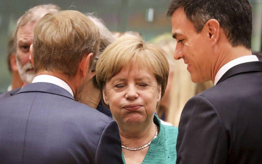 Bondskanselier Angela Merkel tijdens een top met de leiders van de Europese Unie.beeld AFP Ludovic Marin