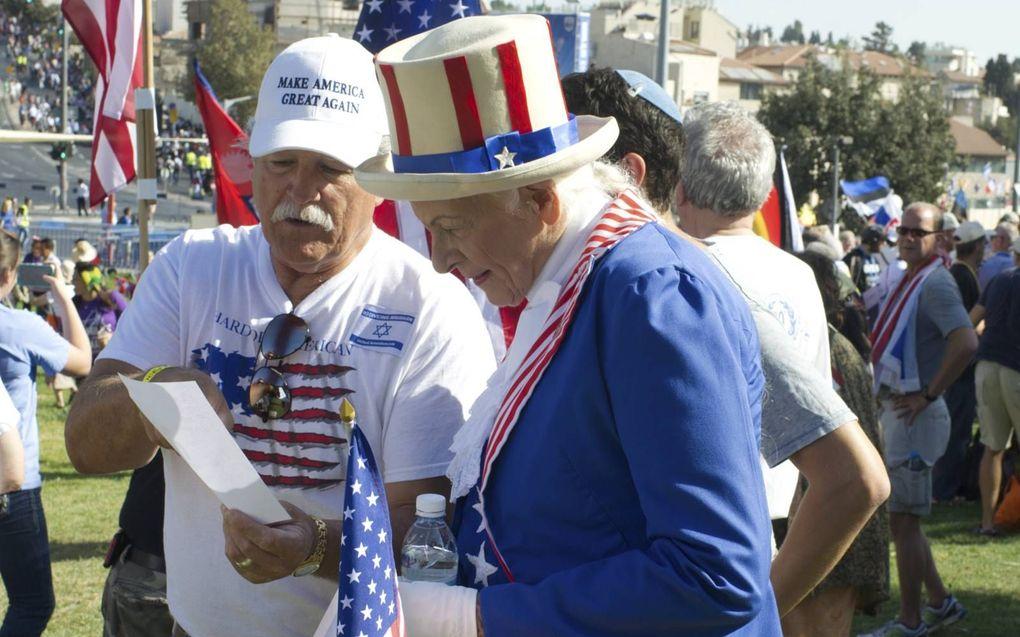 Amerikaanse christenen in Jeruzalem in 2016.beeld Alfred Muller