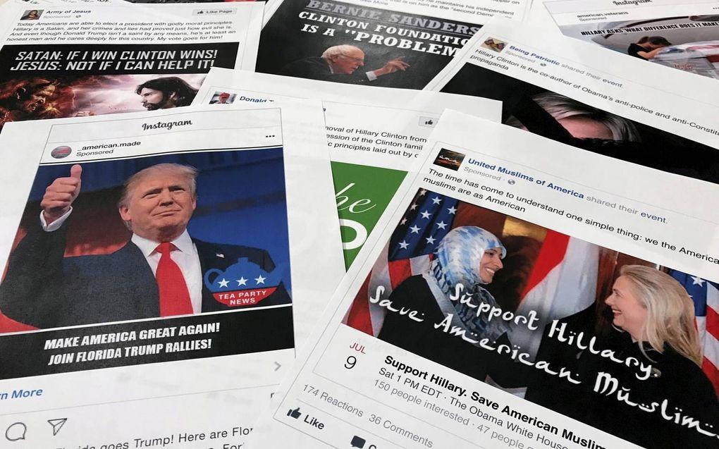 Voorbeelden van berichten op Facebook en Instagram die gelinkt zijn aan Russische pogingen om de Amerikaanse verkiezingsstrijd van 2016 te beïnvloeden.beeld AP, Jon Elswick