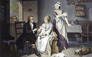 Edward Jenner vaccineert zijn eigen kind. beeld Wellcome Library, London
