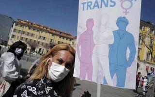 Demonstratie voor de rechten van transgenders in de Franse stad Nice, eind maart.beeld AFP, Valery Hache