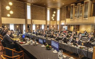 De generale synode van de Christelijke Gereformeerde Kerken kwam deze week in de Oenenburgkerk in Nunspeet bijeen. beeld RD, Henk Visscher