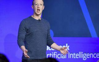 Facebooks topman Mark Zuckerberg spreekt op een persconferentie. beeld AFP, Bertrand Guay