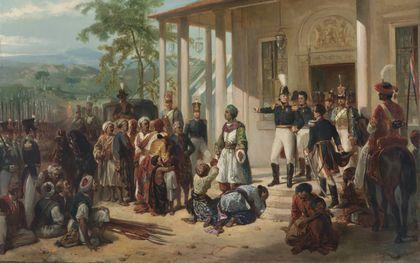 De onderwerping van Diepo Negoro aan luitenant-generaal baron De Kock. Schilderij van Nicoalaas Pieneman (ca. 1830-1835). beeld Rijksmuseum Amsterdam