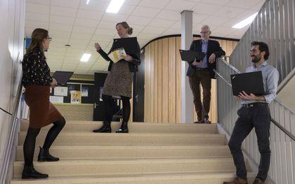 V.l.n.r. de docenten Marijke van Rijssel, Eline Kalman, Wim van Wikselaar en Bastiaan Baan.beeld RD, Anton Dommerholt