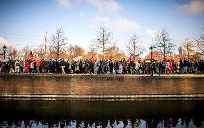 In 2018 demonstreerde WOinActie in Den Haag voor meer geld voor universiteiten.beeld ANP, Remko de Waal