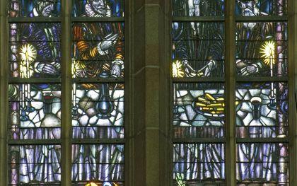 Het Kraftraam in de Grote Kerk van Dordrecht herinnert aan de aanwezigheid van prins Willem van Oranje bij de opening van de kerk.beeld H. A. van Duinen