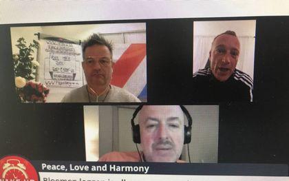 Wouter Raatgever (linksboven), Joost Knevel (rechtsboven) en Micha Kat in hun video-uitzending. beeld Red Pill Journal, RD