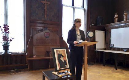 Marianne Kuipers-Sedee tijdens de Thomaslezing van het Ariënsinstituut in Utrecht in 2020. beeld Kuipers-Sedee