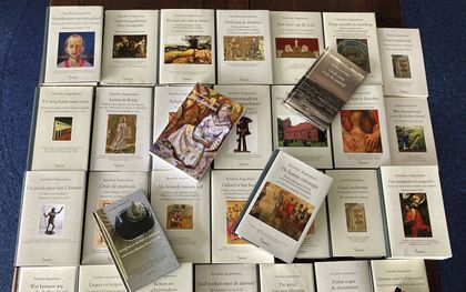 Werken van Augustinus die uitgeverij Damon de afgelopen decennia heeft uitgegeven. Zaterdag vindt de presentatie van het laatste deel in dit project van het Augustijns Instituut plaats. beeld Damon