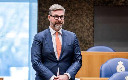 Sidney Smeets (D66) tijdens de beëdiging als lid van de Tweede Kamer. beeld ANP REMKO DE WAAL