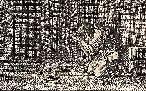 """""""Mannasse bekeert zich in de gevangenis"""" van Jan Luyken (1712).  beeld Rijksmuseum"""