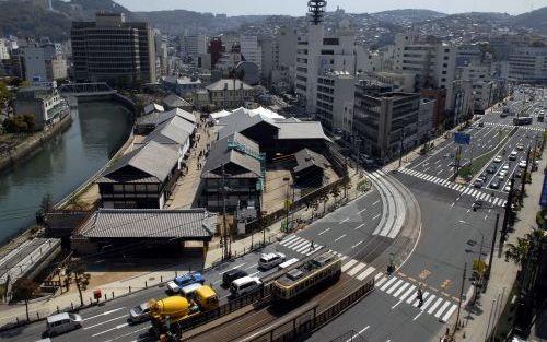 NAGASAKI – In de Japanse havenstad Nagasaki verrees een reconstructie op ware grootte van het Nederlandse eiland Deshima. Foto Kjeld Duits