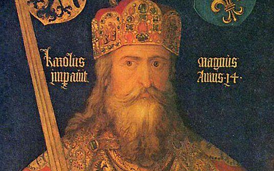 Ideaalbeeld van Karel de Grote met kort na zijn dood gemaakte delen van de keizerlijke regalia, in 1513 door Albrecht Dürer geschilderd in opdracht van zijn vaderstad Nürnberg.  beeld Wikimedia