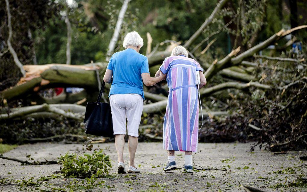 Twee vrouwen lopen tussen de omgewaaide bomen na een windhoos in Leersum. beeld ANP SEM VAN DER WAL