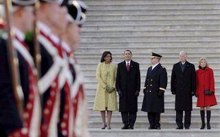 De militaire parade had plaats na de inaugurele lunch in het Capitool in Washington. Foto EPA