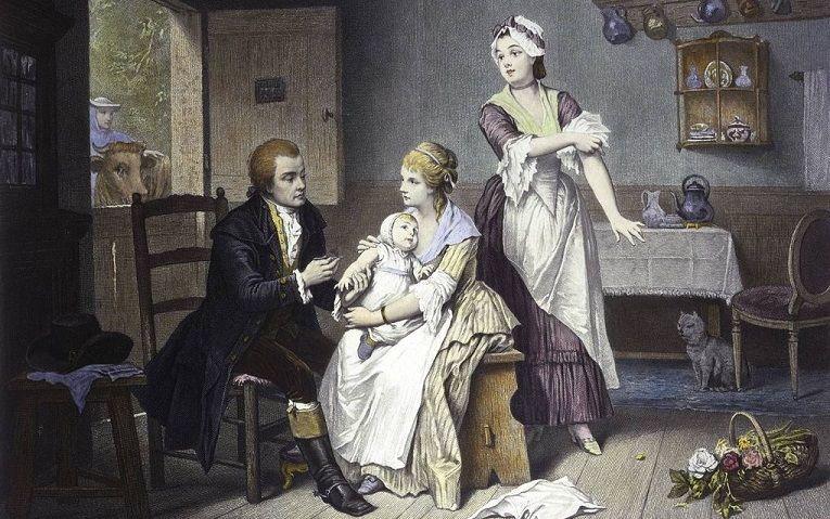 Edward Jenner, pionier van de vaccinatie in de 18e eeuw, ent zijn eigen kind in. beeld Wellcome Library, London