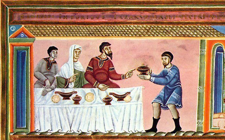 De rijke man en Lazarus, afbeelding in 11e-eeuws evangeliehandschrift (Codex Aureus Epternacensis).  beeld Wikimedia