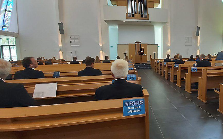 De afscheidsbijeenkomst vond plaats in het kerkgebouw van de gereformeerde gemeente te Gouda. beeld Theologische School