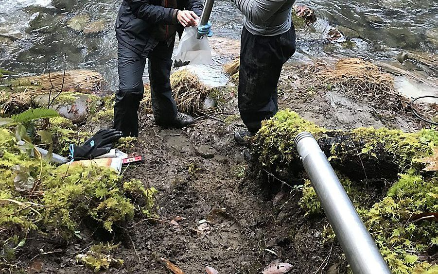 Alison Tune (l.) van de University of Texas, hoofdauteur van de studie, en Brandon Minton (r.), wetenschappelijk medewerker, verzamelen monsters van gesteente bij het Eel River Critical Zone Observatory in de buurt van Elder Creek (VS). beeld University of Texas, Daniella Rempe