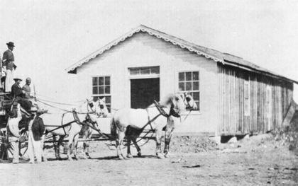 Amerikaanse postkoets uit de negentiende eeuw.beeld Snappygoat.com