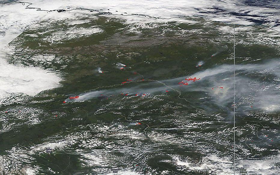 Luchtfoto van natuurbranden in Alaska in 2019. beeld AFP