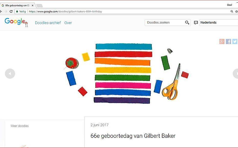 Google eerde op 2 juni Gilbert Baker, de bedenker van de regenboogvlag, met een zogenaamde Doodle. beeld RD