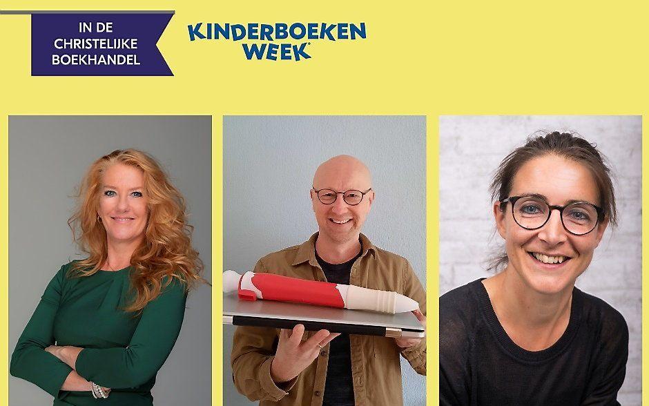 De auteurs van de christelijke actieboeken voor de Kinderboekenweek 2021: (v.l.n.r.) Leontine Gaasenbeek, Bram Kasse, Henriët Koornberg-Spronk. beeld BCB