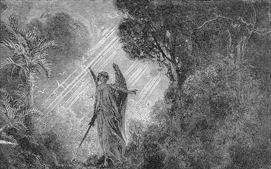 Adam en Eva worden uit het Paradijs verdreven. Gravure van Paul Gustave Doré. beeld RD