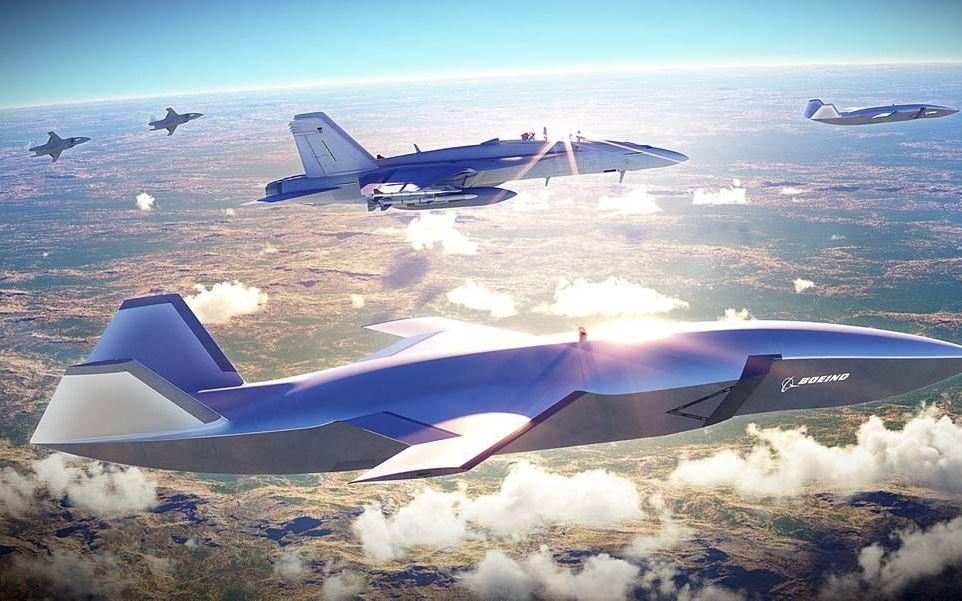 De Loyal Wingman van Boeing werkt samen met een zwerm drones en een bemand gevechtstoestel. beeld Boeing